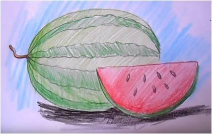 как рисовать арбуз