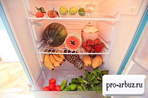 Срок хранения целого арбуза в холодильнике